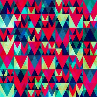 vintage red triangle seamless pattern with grunge effect