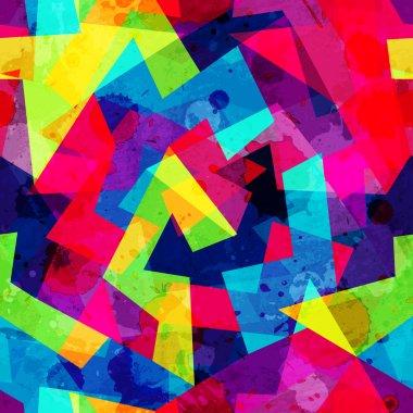 """Картина, постер, плакат, фотообои """"яркий геометрический бесшовный рисунок с эффектом гранжа """", артикул 72478987"""