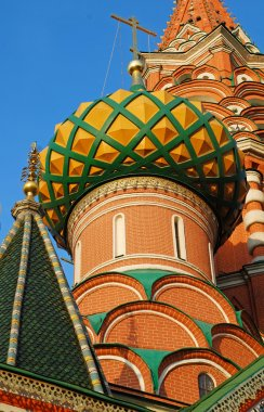 Detail of St. Basils cathedral on Red Square in Moscow
