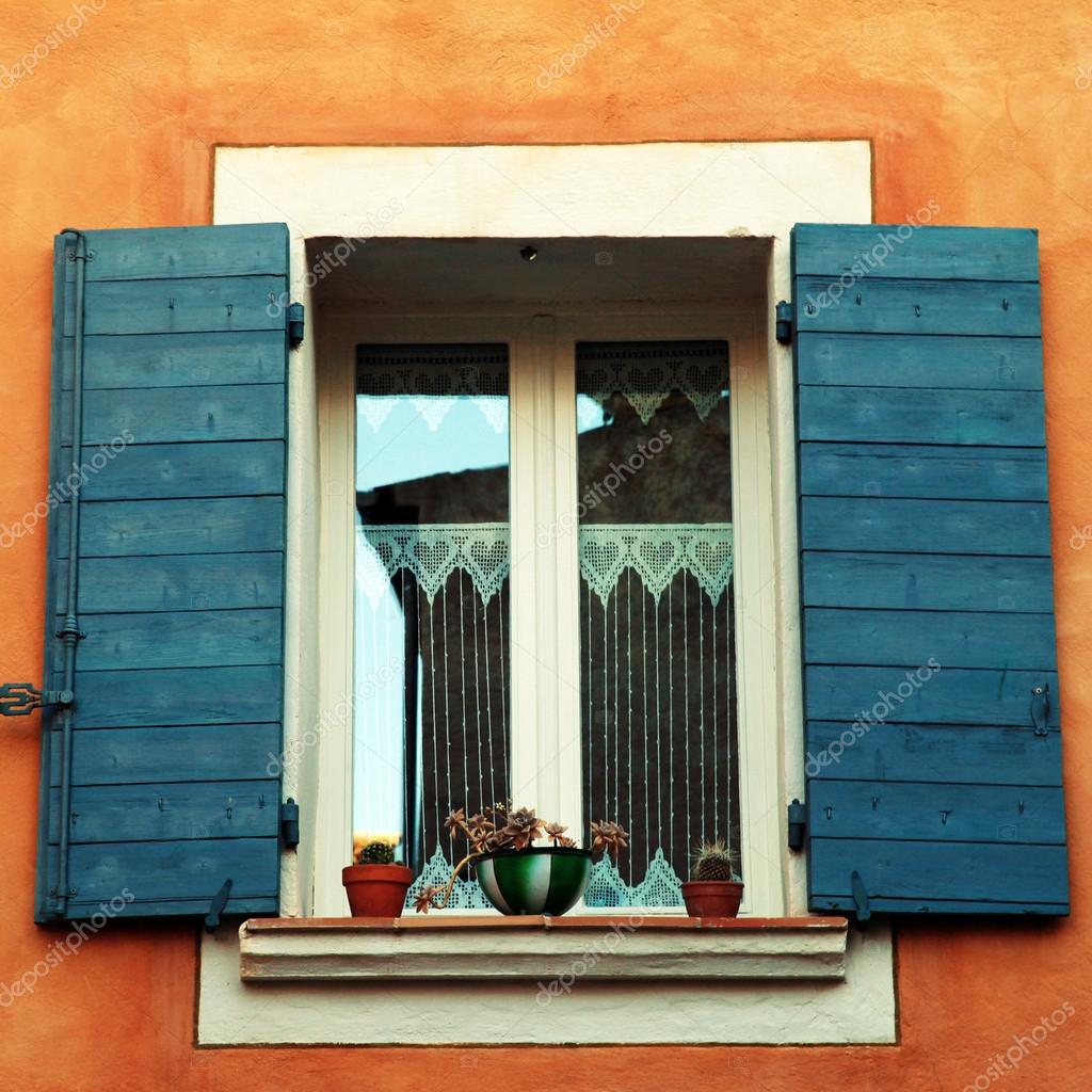 French Window With Blue Shutters Provence France Stock