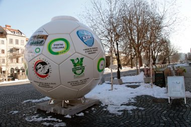 Huge ball  in Old town of Ljubljana , Slovenia
