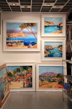 Contemporary paintings at Art Gallery in Saint Paul de Vence,