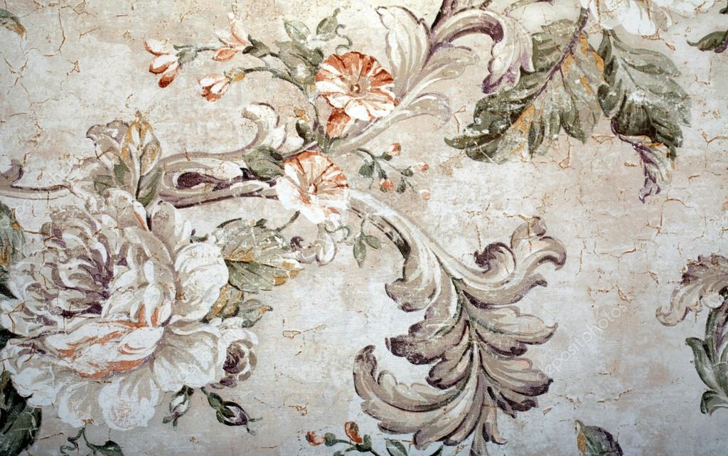 vintage wallpaper with floral victorian pattern and craquelure