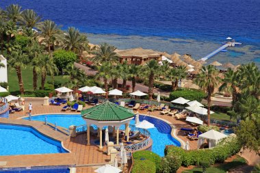 Beautiful sea view on tropical luxury resort hotel , Red Sea beach in Sharm el Sheikh, Egypt.
