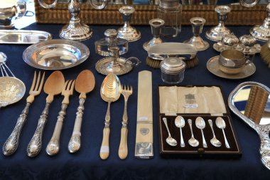 Antique silverware on antique market The Cours Saleya, Nice, Fra