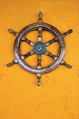 Old boat steering wheel, Greece