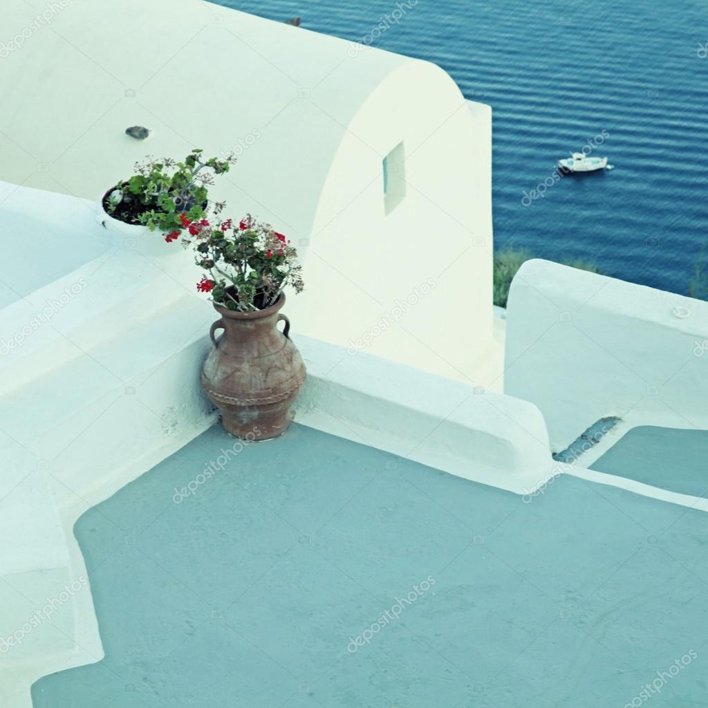 Terrasse vue mer oia le de santorin en gr ce dans le for Terrasses en vue location