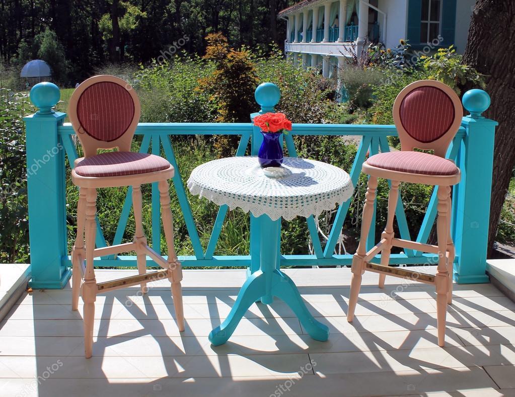 bright colored furniture. Beautiful Terrace With Bright Colored Furniture In Country Resta \u2014 Stock Photo