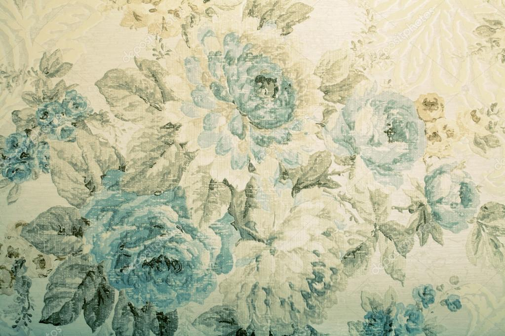Vintage wallpaper with blue floral victorian pattern ...