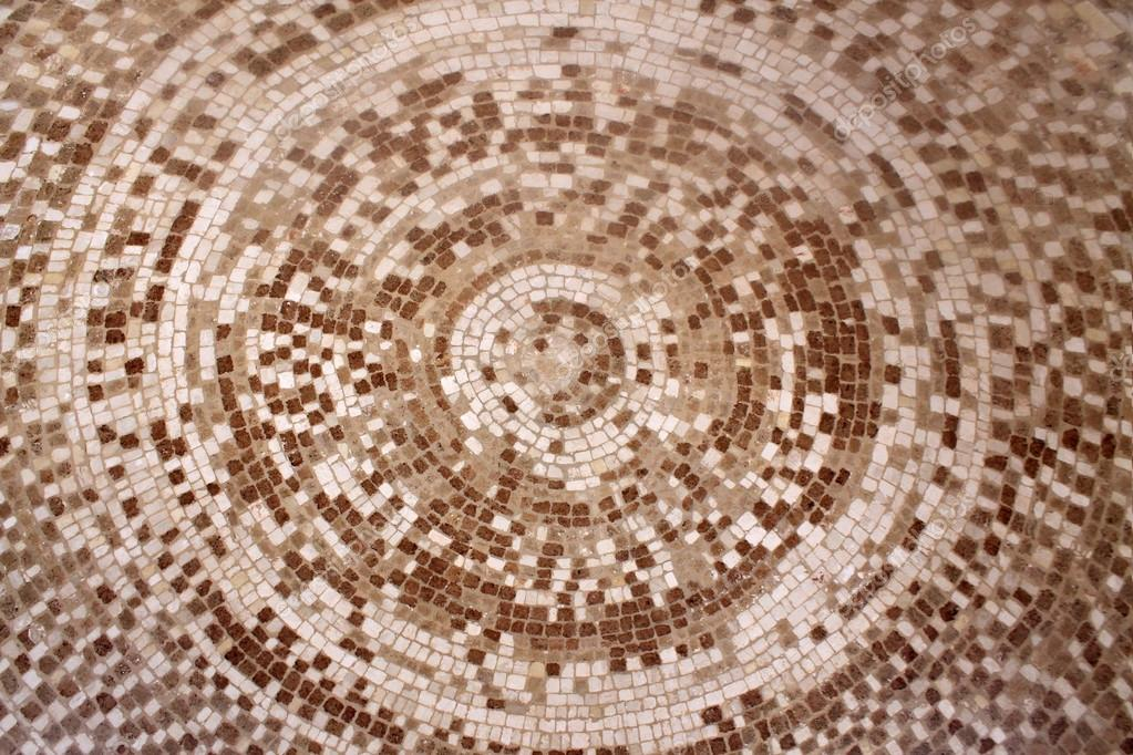 Old Roman Beige And Brown Mosaic Ceramic Tiles In Circle Pattern