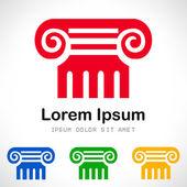 Fényképek római oszlop szimbólum. vektoros illusztráció