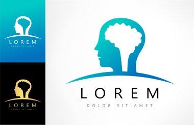 Human head with brain logo