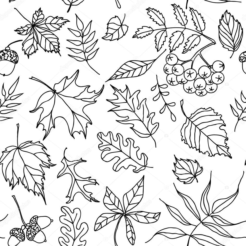 чёрно-белые картинки про осень
