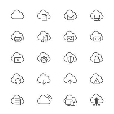 Cloud computing thin icons