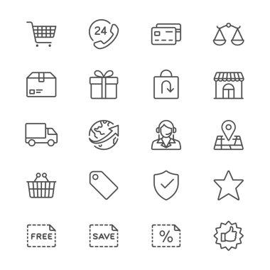 E-commerce thin icons