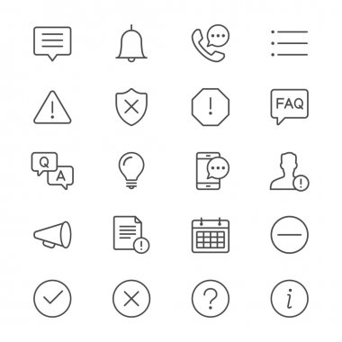 Information and notification thin icons