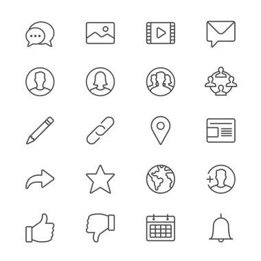 Social network thin icons
