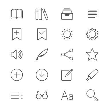 E-book reader thin icons