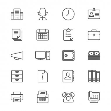 Office supplies thin icons