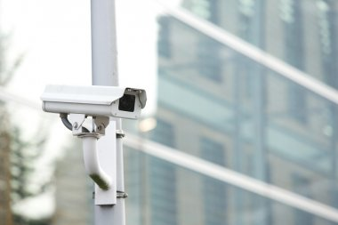 Security camera system guarding business building