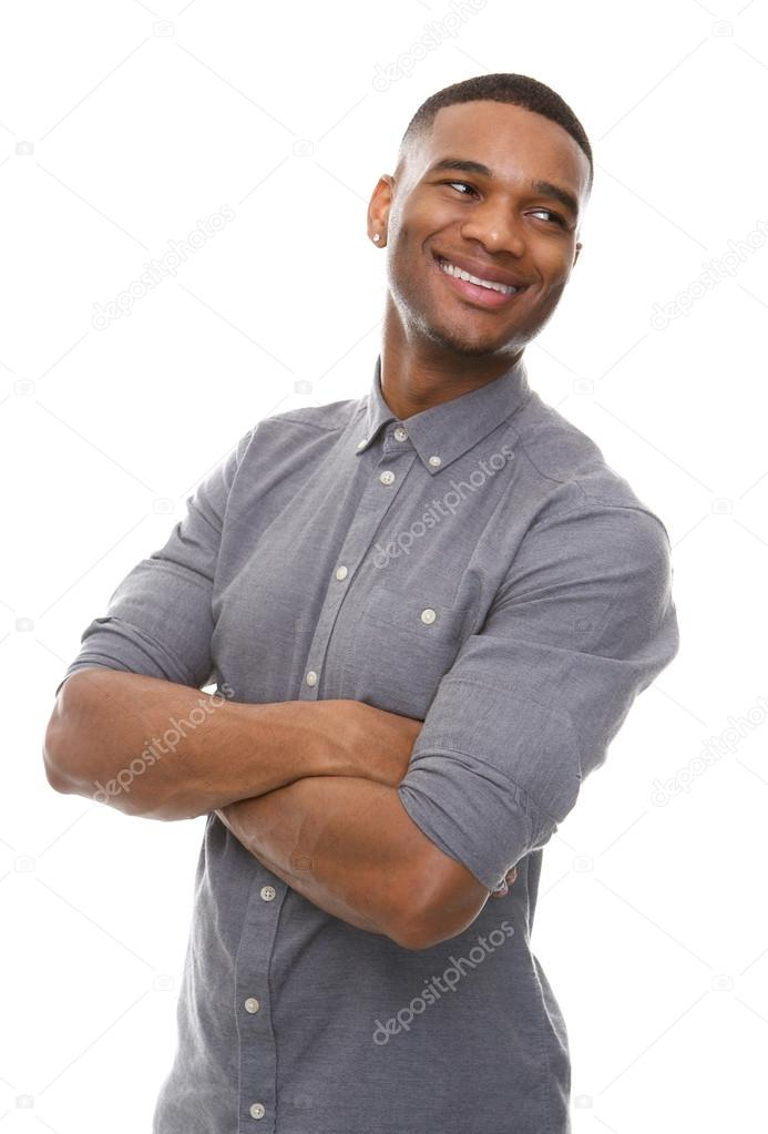 Homem negro lindo sorrindo com braços cruzados — Stock ...