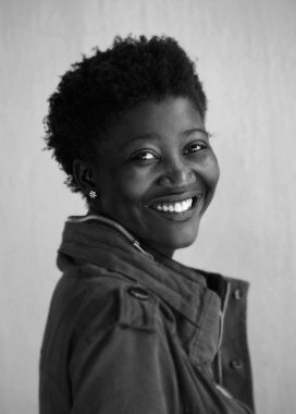black and white african american woman smiling