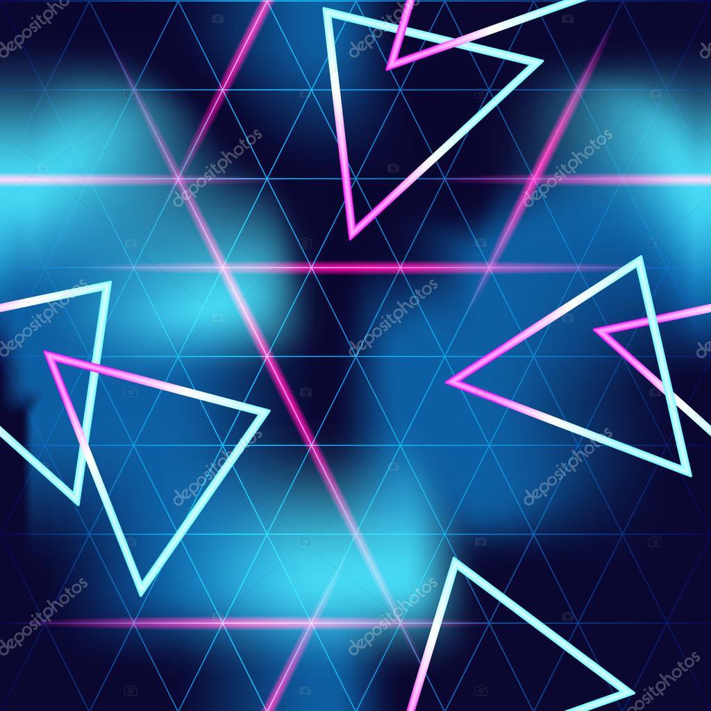 80 S Futuristic Seamless Neon Background Stock Vector