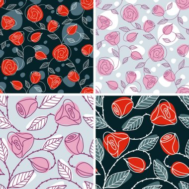 Set of four hand drawn seamless patterns