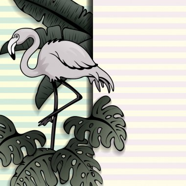 Vintage style tropical banner with a flamingo