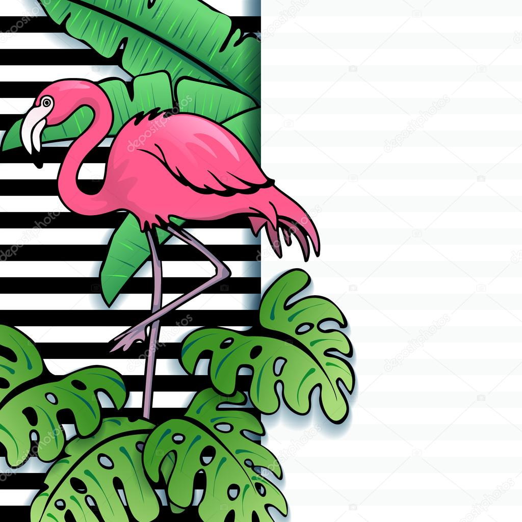 Vibrant tropical banner with flamingo