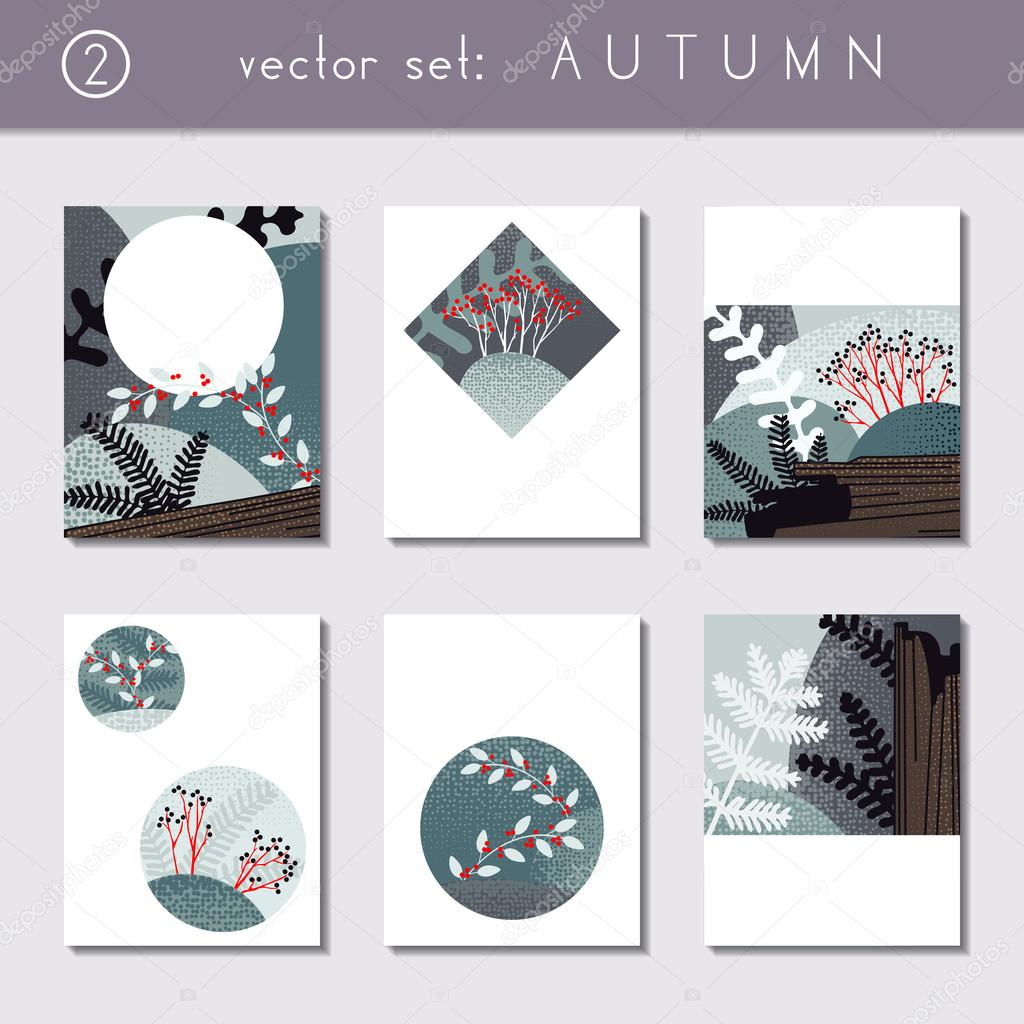 Set of calm autumn brochures