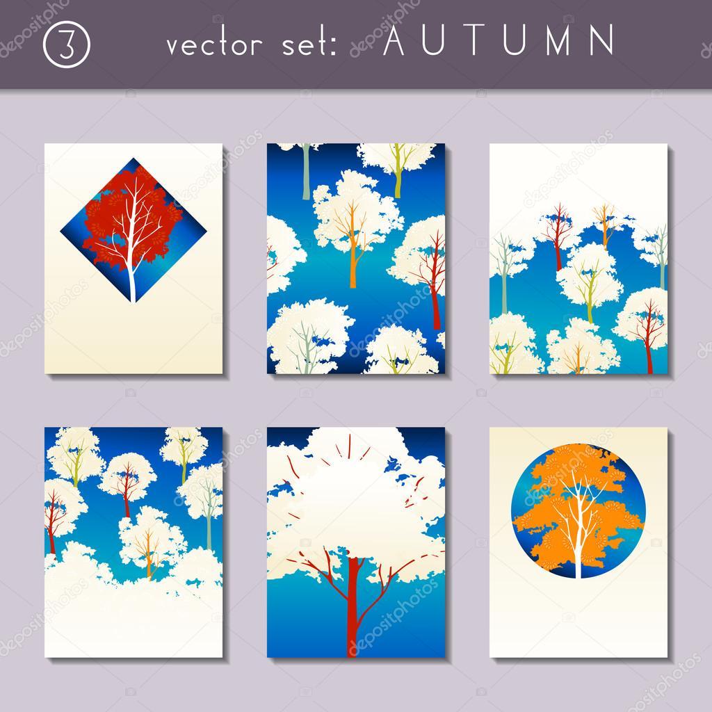 Set of stylized autumn brochures