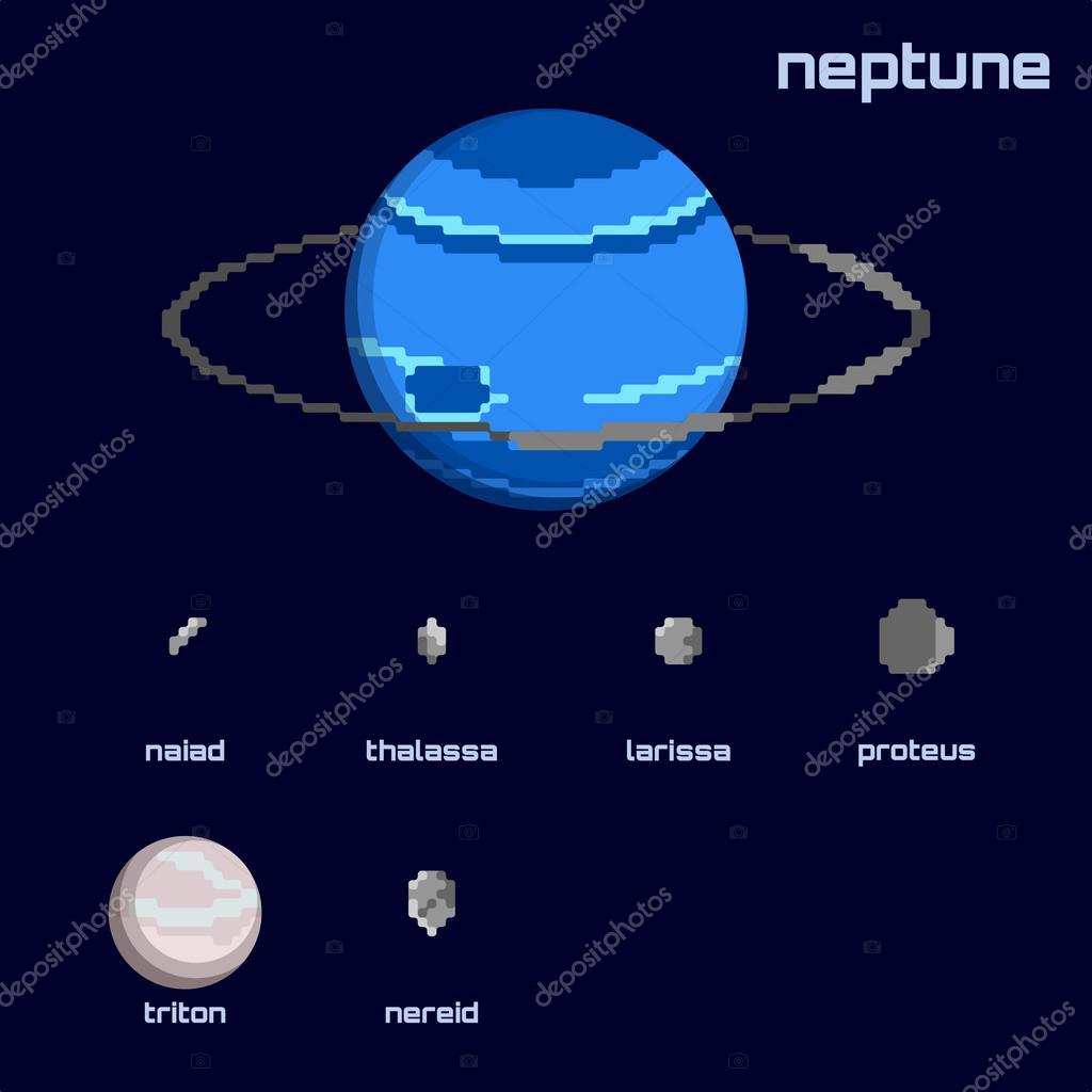 海王星と衛星のレトロなミニマル...