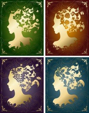 Vintage seasonal women's profiles