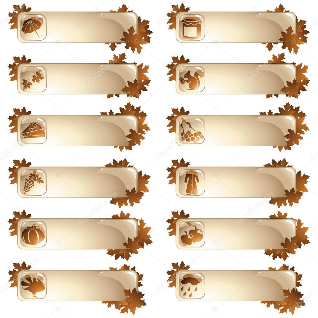 Set of pale brown autumn tabs