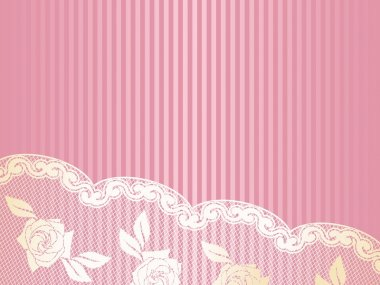 Pink background with elegant gold lace