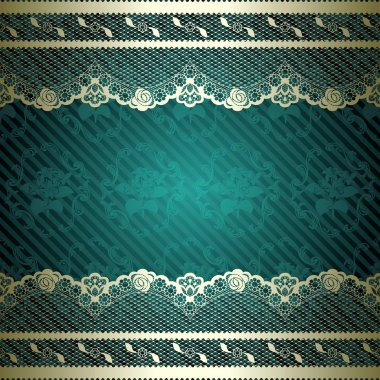 Teal background with elegant gold lace