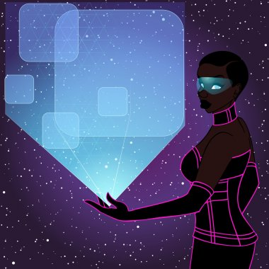 futuristic woman with a blue holographic display