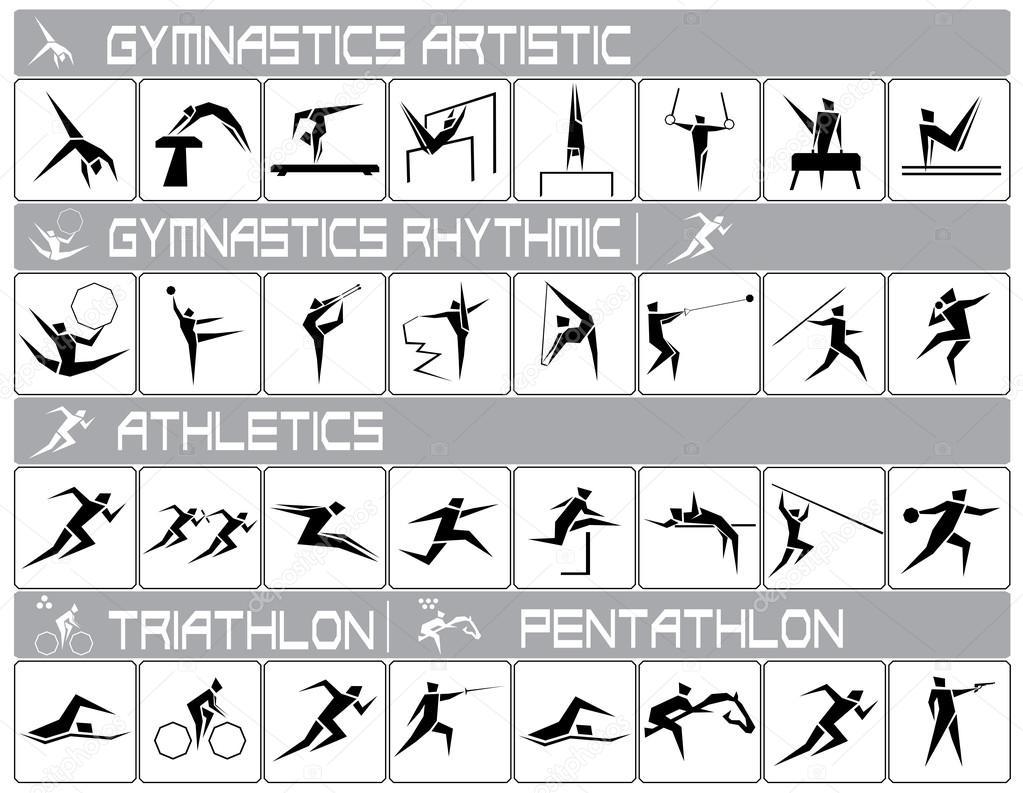 2e4696d3e3f1 Иконы летних Олимпийских видов спорта. Спортивные иконки скачать — вектор  от Dilendom — Вектор от Dilendom