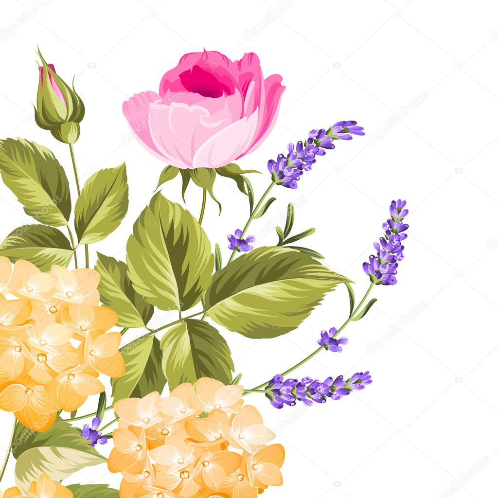 Bunch of lavender and rose flowers.