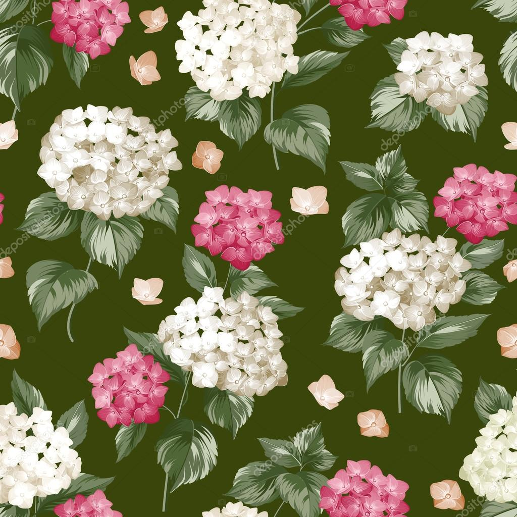 Seamless white flowers pattern.