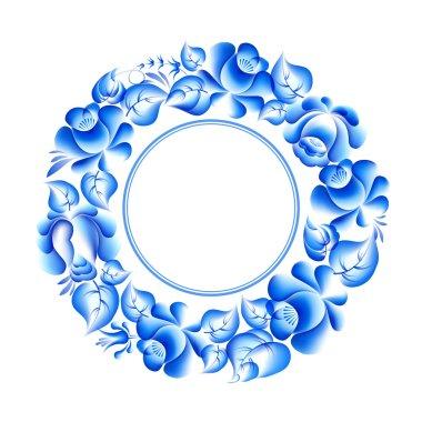 Gzhel style circle frame.