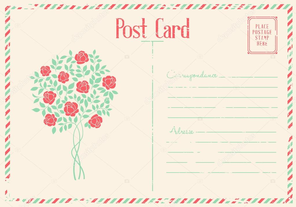 Rose bush postcard.