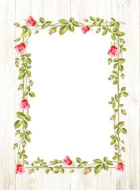 Wedding flower frame with flowers over white. Vector illustration clip art vector