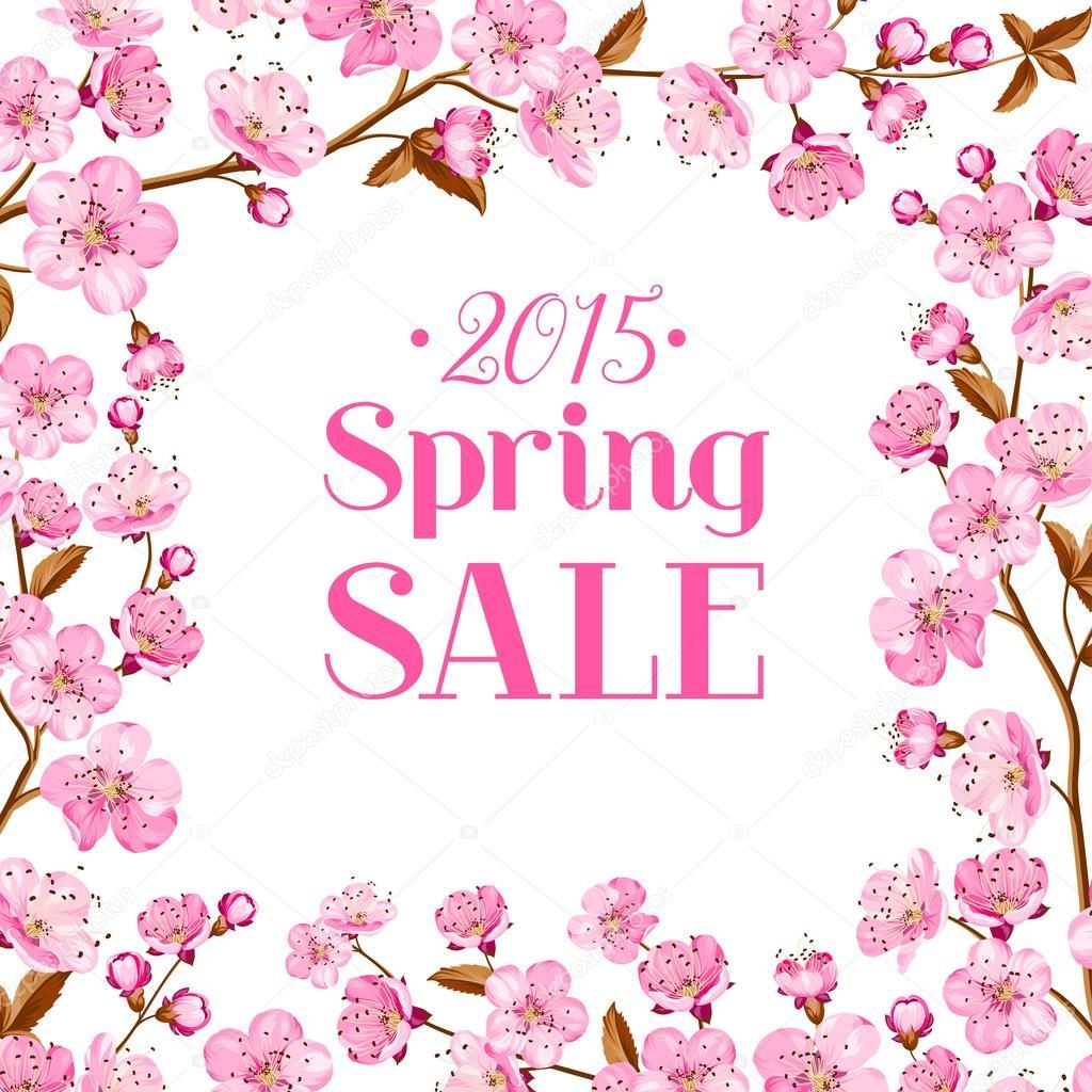 Cherry blossom sale card.