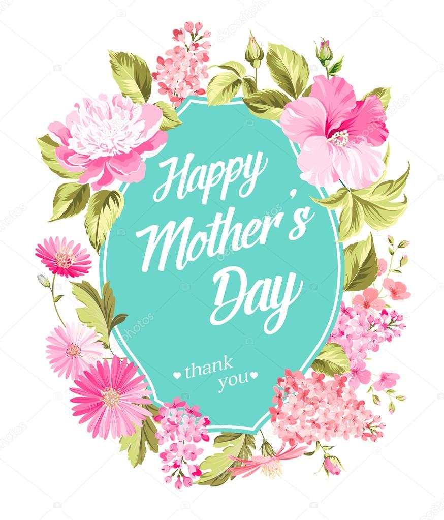 Happy Mothers Day. Greeting card with spring flowers. Vector illustration.