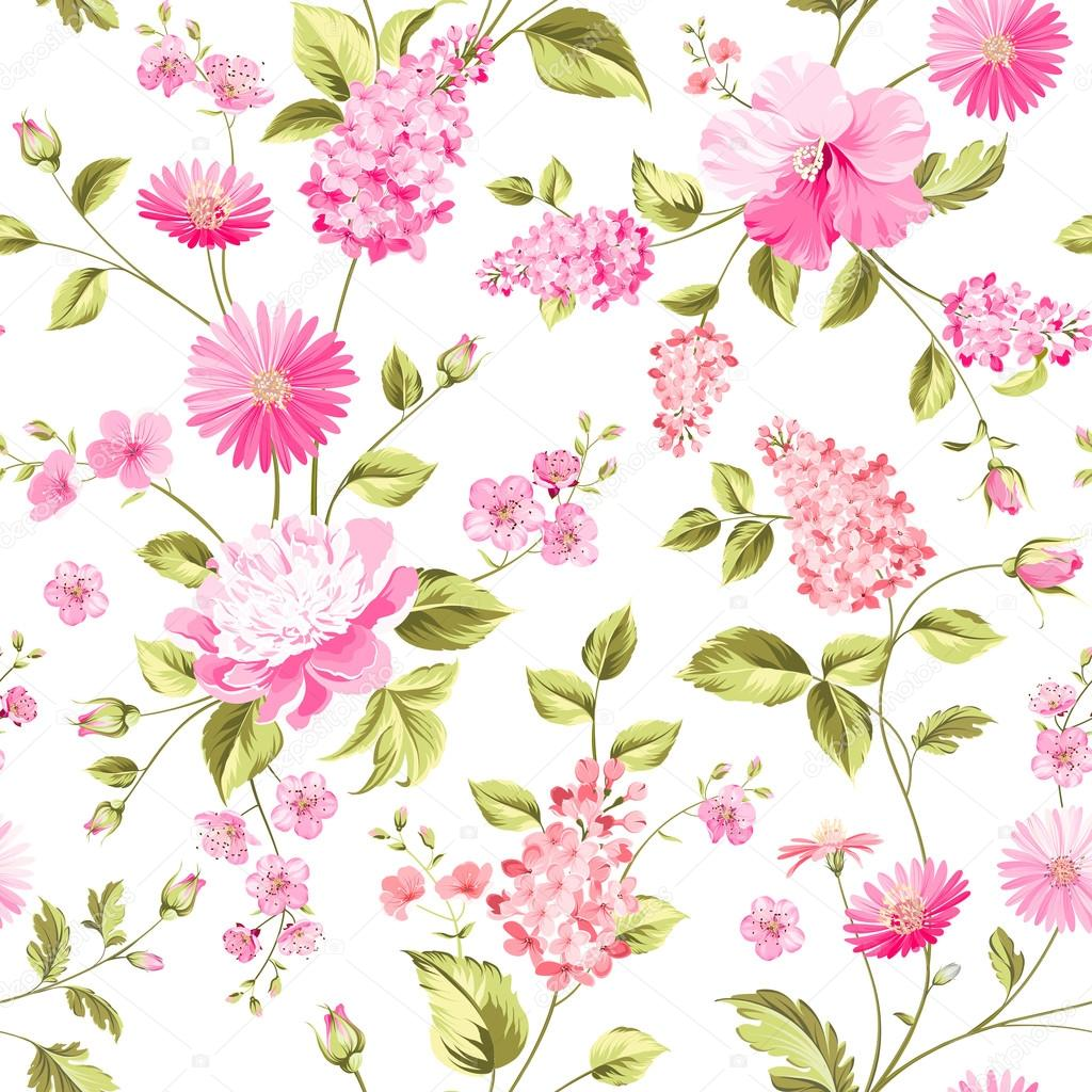 Spring flowers pattern. White background.