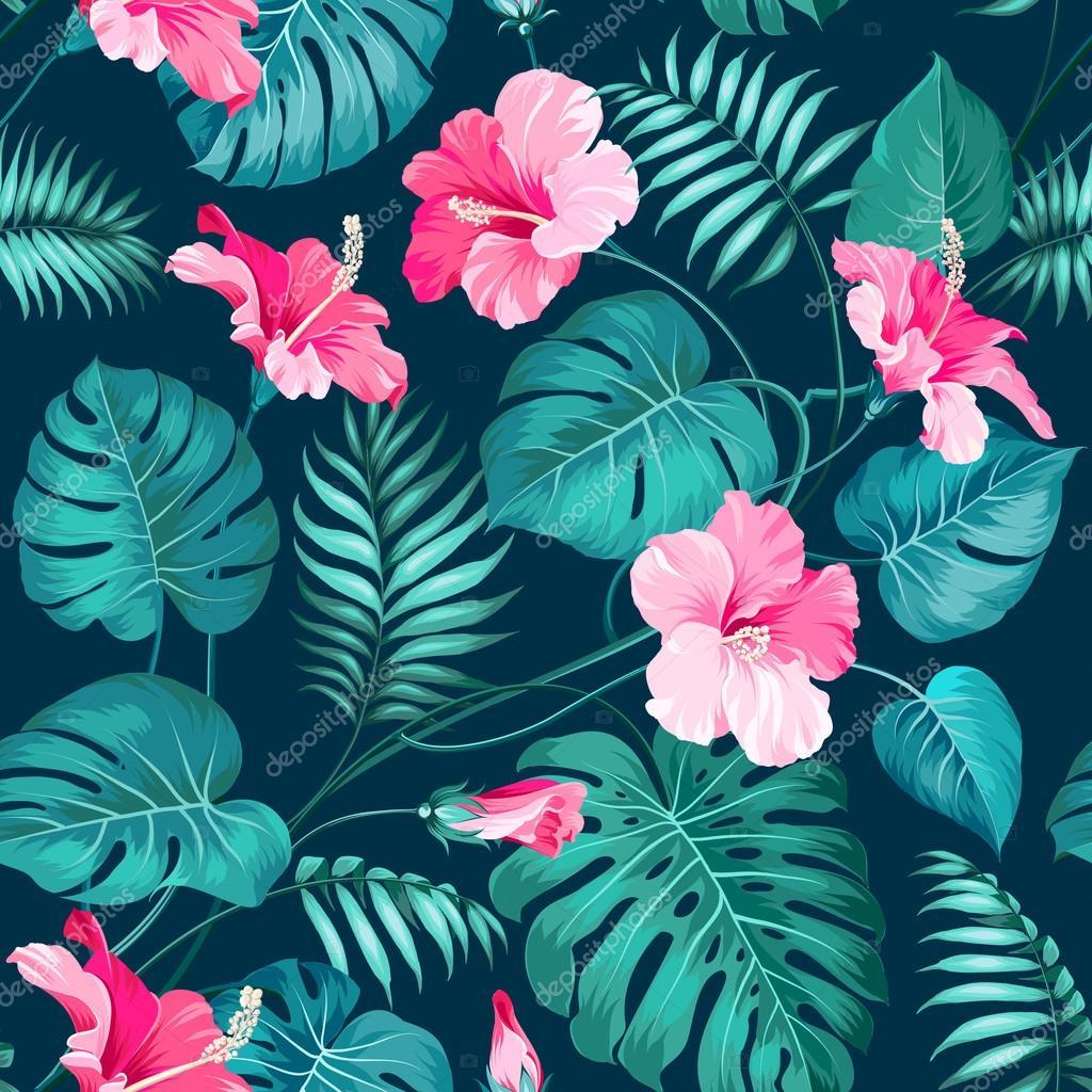 Tropical flower pattern.