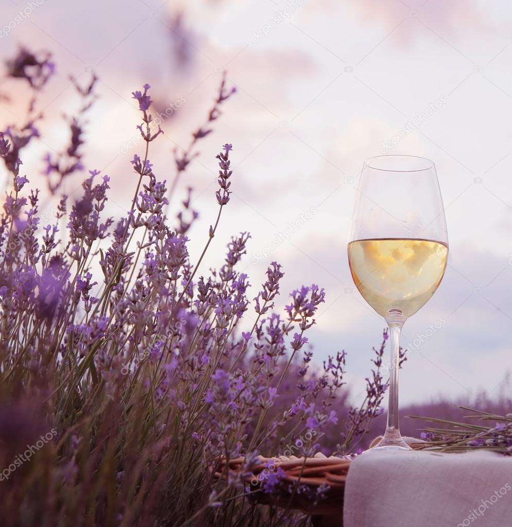 Wine glass and lavender.