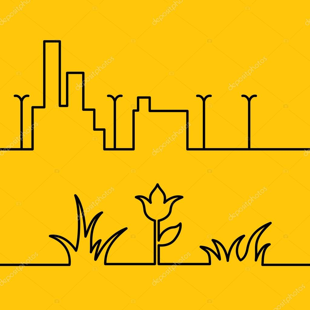 Line city scene and Yellow floral background.